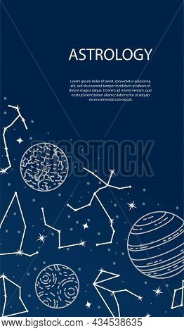 Vector Poster With Planets And Constellations. Astrological Background. A Template With Space For Te
