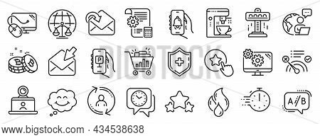 Set Of Technology Icons, Such As No Internet, Settings Blueprint, Magistrates Court Icons. Receive M