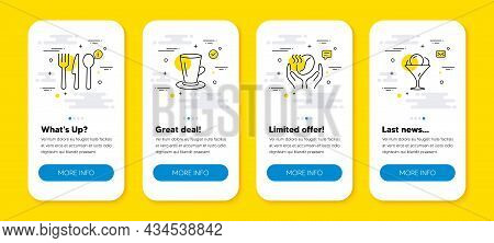Vector Set Of Coffee, Teacup And Food Line Icons Set. Ui Phone App Screens With Line Icons. Ice Crea