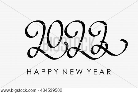 Happy New Year 2022 Greeting Card. Handwritten Calligraphy Template For Poster Print, Banner. Letter