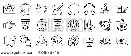 Set Of Business Icons, Such As Water Splash, Euro Money, Cooking Spoon Icons. Business Podium, Graph
