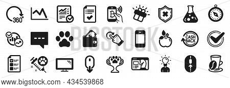 Set Of Business Icons, Such As Blog, Dog Vaccination, Approved Checklist Icons. Bitcoin Pay, Monitor