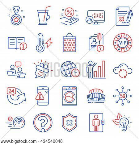 Business Icons Set. Included Icon As Smile, Graph Chart, Loan Percent Signs. Search Employee, Cloud
