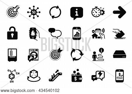 Vector Set Of Technology Icons Related To Bell Alert, Chat Message And Full Rotation Icons. House Se