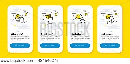 Vector Set Of Wash Hands, Touchscreen Gesture And Smile Line Icons Set. Ui Phone App Screens With Li