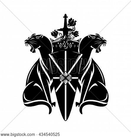 Pair Of Roaring Panthers With Heraldic Shield, Royal Crown, Knight Sword And Rose Flowers - Medieval