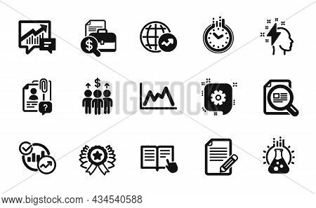 Vector Set Of Search Employee, Statistics And Chemistry Lab Icons Simple Set. World Statistics, Acco