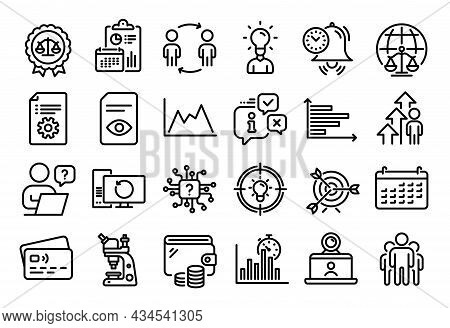 Vector Set Of Diagram, Horizontal Chart And Group Line Icons Set. Calendar Report, Money Wallet And