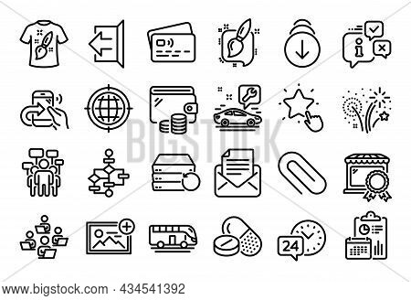 Vector Set Of Recovery Server, 24h Service And Block Diagram Line Icons Set. Calendar Report, Money