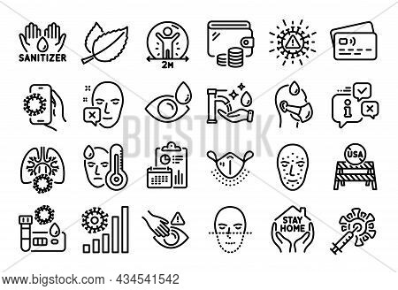 Vector Set Of Usa Close Borders, Eye Drops And Face Declined Line Icons Set. Calendar Report, Money