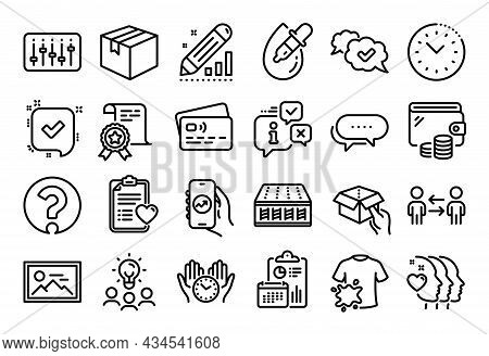 Vector Set Of Parcel, Dj Controller And Photo Line Icons Set. Calendar Report, Money Wallet And Cred