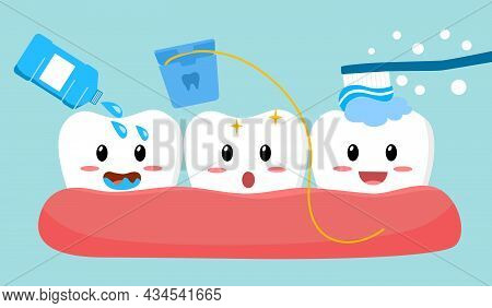 Tooth Cleaning Activities By Brushing Teeth, Mouthwash And Dental Floss In Flat Design. Dental Care