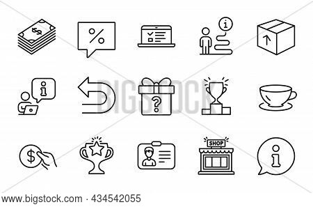 Line Icons Set. Included Icon As Web Lectures, Undo, Identification Card Signs. Shop, Dollar, Discou