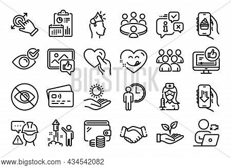 Vector Set Of Waiting, Builder Warning And Like Video Line Icons Set. Calendar Report, Money Wallet