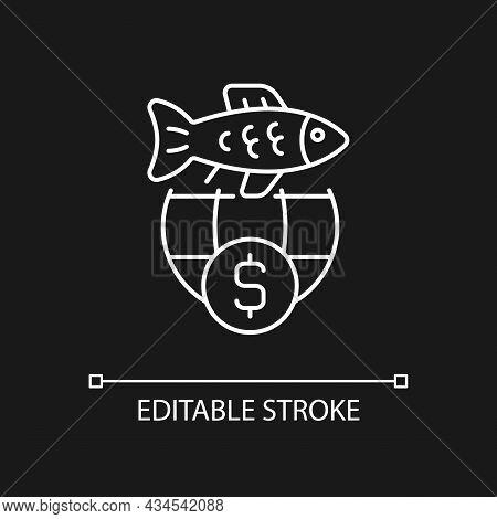 International Fisheries Trade Permit White Linear Icon For Dark Theme