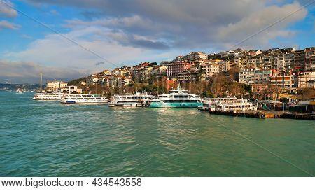 View Of Bosphorus Strait In Istanbul, Turkey. Bosphorus Strait Separates The European Part From The