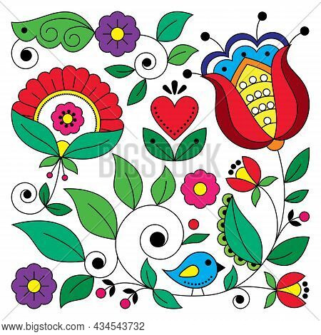 Scandinavian Folk Art Vector Square Floral Design With Bird Inspired By Traditional Embroidery Patte
