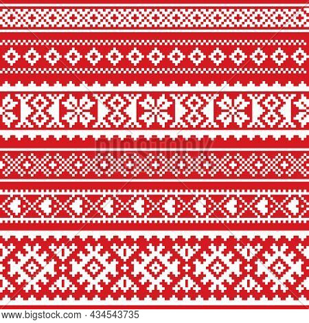 Sami Vector Seamless Pattern, Lapland Folk Art, Traditional Knitting And Embroidery Design In White