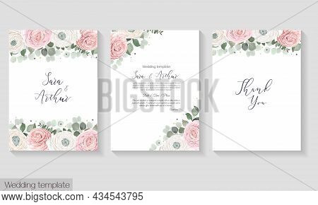 Vector Floral Template For A Postcard. Invitation Card. Pink And White Roses, Asian Buttercup, Eucal