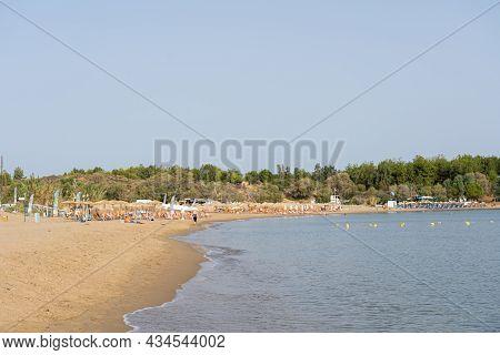 Crete, Greece - September 18, 2021: The So Called Golden Beach Near Chania Town