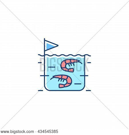 Shrimp Farming Rgb Color Icon. Prawn Commercial Production And Breeding. Shrimps Growing In Tanks An