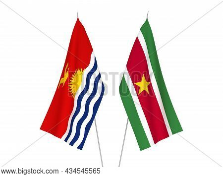 National Fabric Flags Of Republic Of Kiribati And Republic Of Suriname Isolated On White Background.
