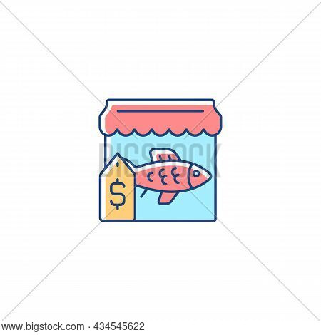 Fish Market Rgb Color Icon. Fresh, Frozen Seafood Trade And Supply. Fish Marketplace. Fishmongers St