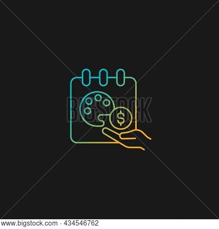 Paid Sabbatical Leave Gradient Vector Icon For Dark Theme. Employee Vacation. Extended Break. Increa
