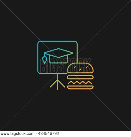 Lunch And Learns Gradient Vector Icon For Dark Theme. Training Event During Free Lunch. Employee Enc