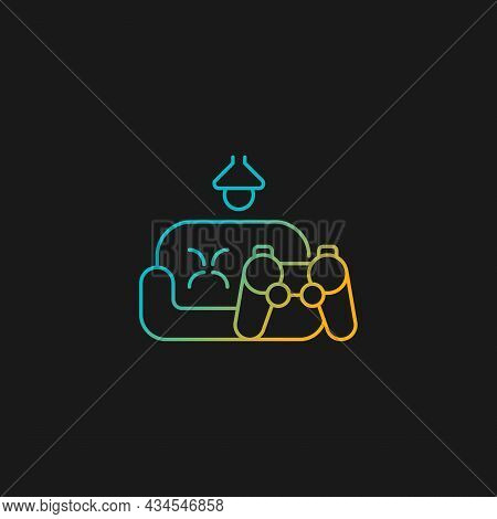 Game Room Gradient Vector Icon For Dark Theme. Increase Employee Engagement. Staff Lounge Area. Psyc