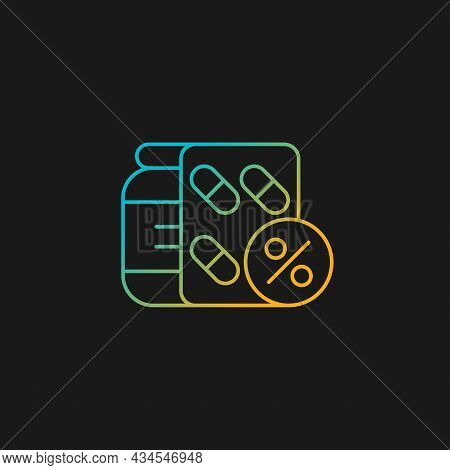 Reduced Prescription Drug Cost Gradient Vector Icon For Dark Theme. Providing Health Benefits To Emp