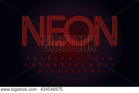 Red Neon Font Glowing, Tube Letters Set, Outline Contour Alphabet. Modern Night Life Type For Casino