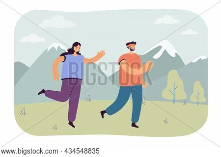 Happy Couple Jogging Together Outdoors. Male And Female Runners Running Marathon Flat Vector Illustr
