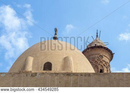 Dome At Public Historic Mosque Of Sultan Al Nassir Qalawun Revealing Minaret Of Mamluk Era El Zaher