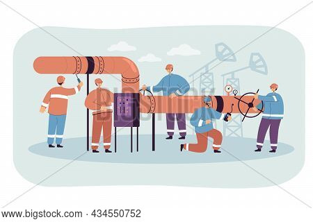 Male Cartoon Characters In Uniforms Repairing Oil Pipeline. Men Fixing And Controlling Gas Leaks Fla