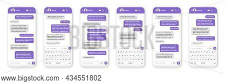 Messaging App Design, User Interface. Sms Text Frame. Conversation Chat Screen With Violet Message B
