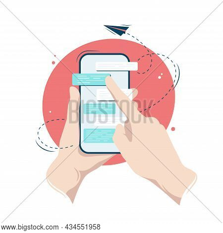 Hands Holding A Smartphone With A Messenger Dialog On Its Screen, Vector Illustration In Flat Style