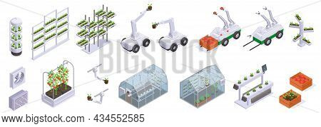 Isometric Modern Greenhouse Icon Set Beds Smart Shelves Greenhouse Building Robots And Harvesting Pr