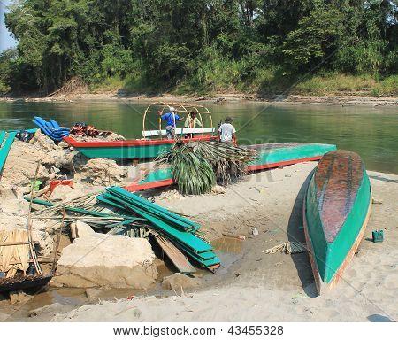 Boats On The Usumacinta River At Yaxchilan, Mexico