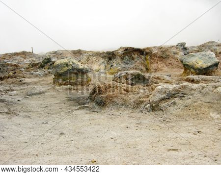 Volcanic Rocks Resulting From The Eruption Of An Ancient Volcano In The Dieng Plateau