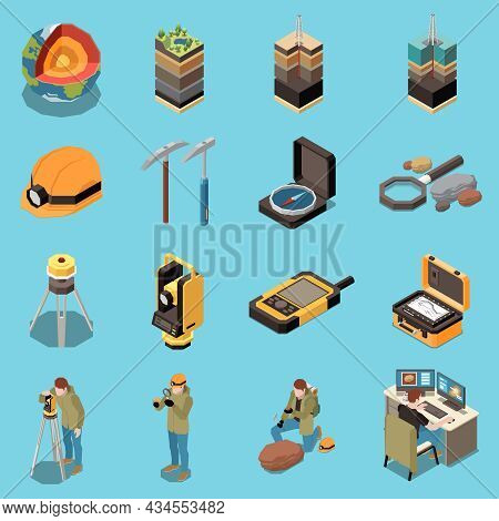 Geology Earth Exploration Isometric Icon Set Different Types Of Soils Geologists At Work Section Of