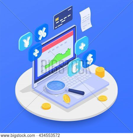 Accounting And Financial Audit Composition With Inspection Symbols Isometric Vector Illustration