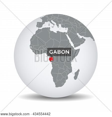 World Globe Map With The Identication Of Gabon. Map Of Gabon. Gabon On Grey Political 3d Globe. Afri