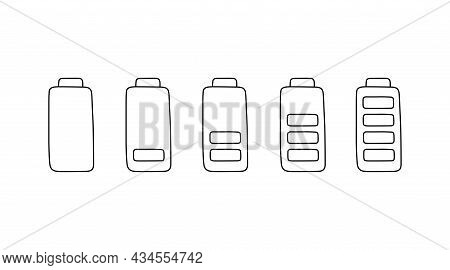 Battery Charge Set In Doodle Style, Vector Illustration. Hand Drawn Sketch, Energy Level Low And Ful