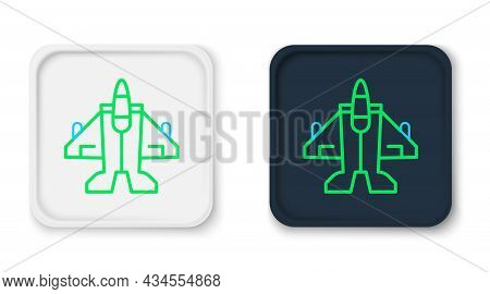 Line Jet Fighter Icon Isolated On White Background. Military Aircraft. Colorful Outline Concept. Vec