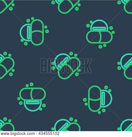 Line Medicine Pill Or Tablet Icon Isolated Seamless Pattern On Blue Background. Capsule Pill And Dru