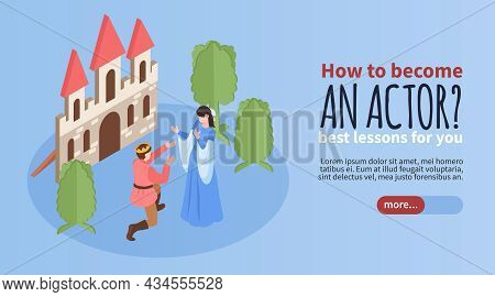 Horizontal Isometric Banner For Acting School With Performing Actors And Editable Text 3d Vector Ill