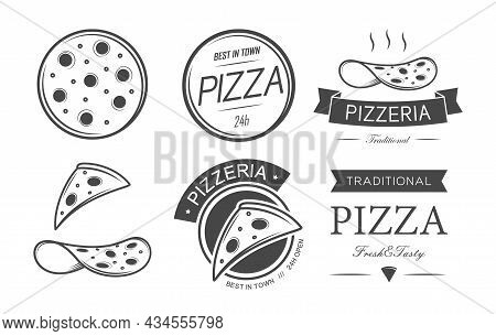 Set Of Pizza And Pizzeria Icons And Emblems,