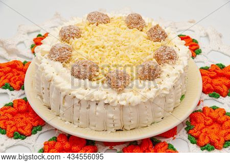 Delicious Homemade Chocolate Cake Decorated With Grated White Chocolate And Dulce De Leche Coconut F