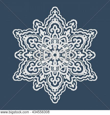 Monochrome Mandala Isolated On A Black Background. A White Snowflake. Drawing With Dots.  Hand-drawn